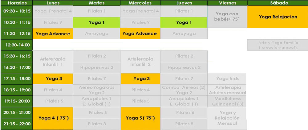 horario yoga xamara